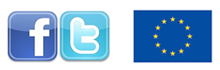 Facebook and Twitter and EU logo